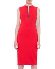 Sleeveless Zip-Front Jersey Sheath Dress, Sporty Red