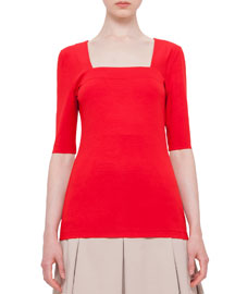 Half-Sleeve Square-Neck Top, Sport Red