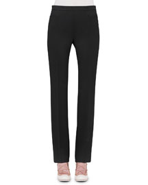 Francoise Straight-Leg Pants, Black