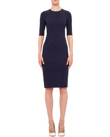 Short-Sleeve Jewel-Neck Sheath Dress, Indigo