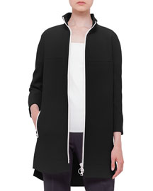 Wool-Blend Zip-Front Jacket, Black