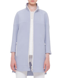 Wool-Blend Zip-Front Jacket, Sky Blue