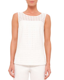 Sleeveless Eyelet Top, Cream