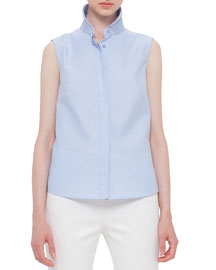 Sleeveless Hidden-Placket Blouse, Sky Blue/Oxford