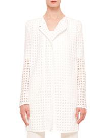 Long-Sleeve Punto-Embroidered Long Jacket, Cream