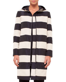Reversible Striped Hooded Coat, Black/Cream
