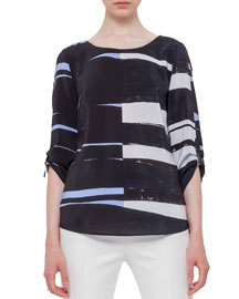 Brushstroke-Print 3/4-Sleeve Silk Blouse, Multi