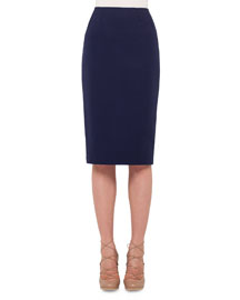 Stretch-Jersey Pencil Skirt, Indigo