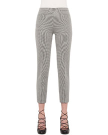 Franca Houndstooth Ankle Pants, Black/Cream