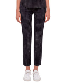 Franca Polka-Dot Ankle Pants, Black/Cream