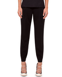 Mimi Cropped Pants W/Elastic Cuffs, Black