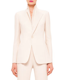 Canto One-Button Double-Face Wool Jacket, Ranunculus