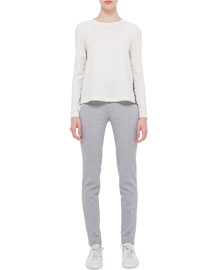 Mara Long Stretch-Jersey Pants, Silver