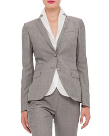 Cool Wool Two-Button Jacket, Dark Zinc