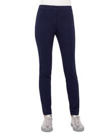 Mara Long Stretch-Jersey Pants, Indigo