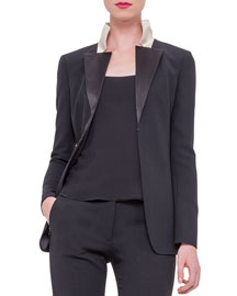 Double-Face Wool Tuxedo Jacket w/Satin Lapels, Black