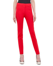 Mara Long Stretch-Jersey Pants, Sport Red