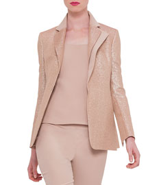 Silk-Lam?? Notch-Collar Jacket, Rose Gold