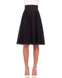 High-Rise Perforated A-Line Skirt, Black
