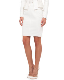 Techno Cady Pencil Skirt, Cream