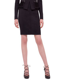 Techno Cady Pencil Skirt, Black