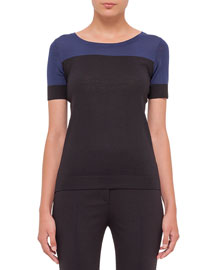 Short-Sleeve Colorblock Sweater, Indigo/Black