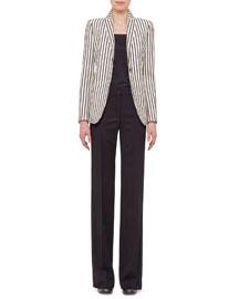 Striped Wool One-Button Blazer, Cream/Black