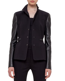 Jersey Jacket w/Perforated Leather Sleeves, Black