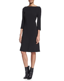 3/4-Sleeve A-Line Work Dress, Black
