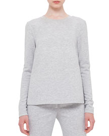 Boxy Long-Sleeve Heathered Top, Silver