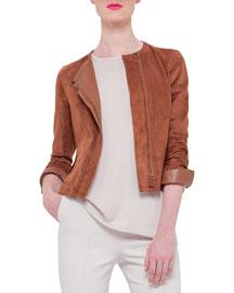 Suede Zip-Front Jacket, Tan