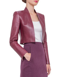 Cropped Napa Leather Jacket, Dahlia