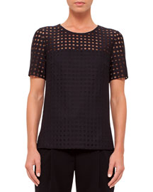 Short-Sleeve Circle-Embroidered Blouse, Black