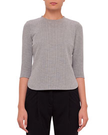 Boxy 3/4-Sleeve Jersey Top, Black/Cream