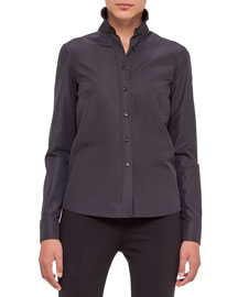 Button-Front Perforated-Back Blouse, Black