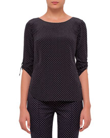 Half-Sleeve Polka-Dot Silk Top, Black/Cream