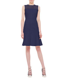 Sleeveless Techno Jersey Dress, Indigo