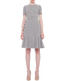 Short-Sleeve Ribbed Jersey Dress, Black/Cream