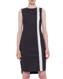 Sleeveless Techno Fabric Shift Dress, Black/Cream