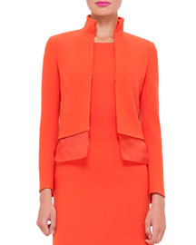 Long-Sleeve Wool-Crepe Mock-Neck Jacket, Zinnia