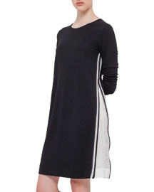 Long-Sleeve Mesh-Trimmed Jersey Dress, Black