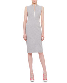 Sleeveless Zip-Front Jersey Sheath Dress, Silver