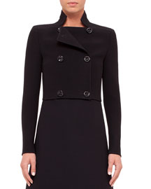Camille Cropped Wool-Crepe Double-Breasted Jacket, Black