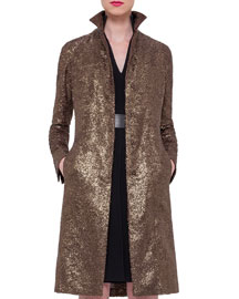 Foiled Crepe Mid-Length Coat, Bronze