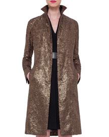 Foiled Crepe Mid-Length Coat, Bronze