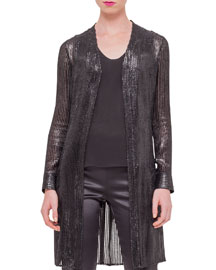 Sequined Velvet Long Car Coat, Black