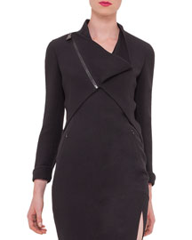 Long-Sleeve Asymmetric-Zip Wool-Crepe Jacket, Black