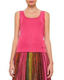 Sleeveless Silk-Blend Scoop-Neck Tank, Rose