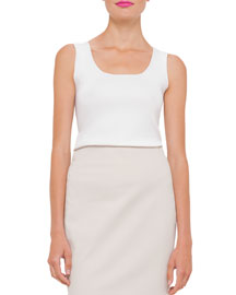 Sleeveless Silk-Blend Scoop-Neck Tank, Off White