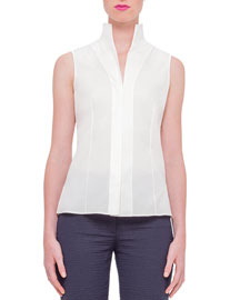 Sleeveless Mock-Neck Stretch-Poplin Top, Anemone